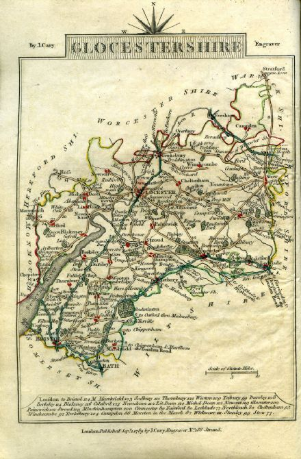 Gloucestershire County Map by John Cary 1790 - Reproduction
